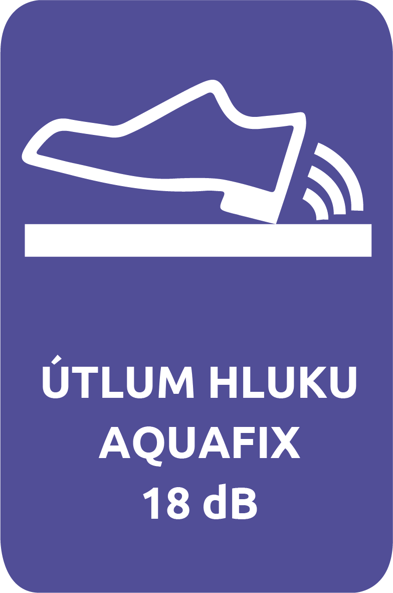 Vinylová podlaha Aquafix Click má kročejový útlum hluku 18 dB